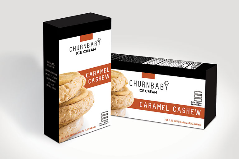 ChurnBaby Caramel Cashew Ice Cream Sandwich
